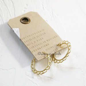 Anthropologie Cass Scalloped Hoop Earrings Gold